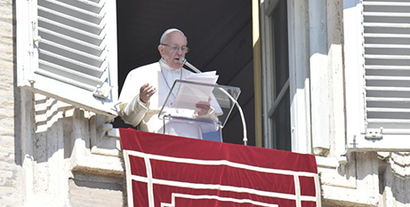 Pope Francis during the Angelus in St Peter's Square on Sunday (Vatican Media)