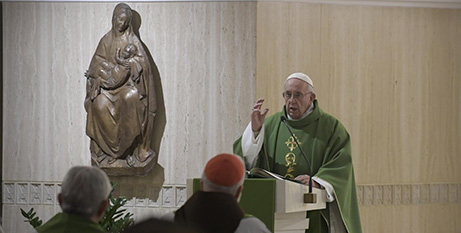 Pope Francis delivers the homily at Domus Sanctae Marthae yesterday (Vatican Media)