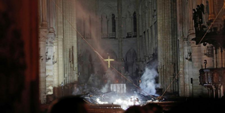 Inside Notre Dame Cathedral following last month's fire (CNS/Philippe Wojazer, Reuters)