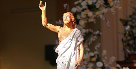 A blood-stained statue of Christ in St Sebastian Church in Negombo, Sri Lanka (CNS/Reuters)