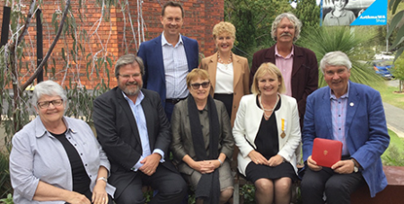 Mary Jamieson, second from right, wearing her Pro Ecclesia et Pontifice medal at a recent meeting of the CSSA board (ACBC)