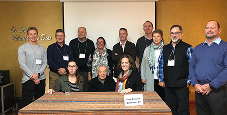 Fr Gustavo Gutierrez (seated, middle) with the Australian education delegation in Peru (EREA)