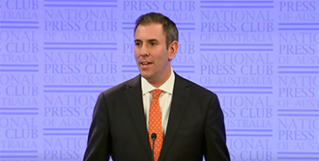 Jim Chalmers addresses the National Press Club in Canberra yesterday (ABC News)