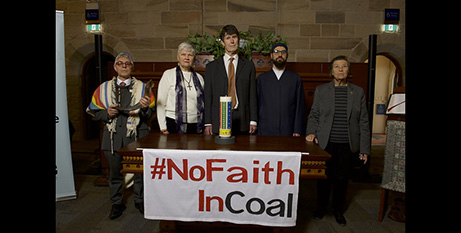 Thea Ormerod (second from left) and Sr Libby Rogerson (far right) with faith leaders yesterday (ARRCC)