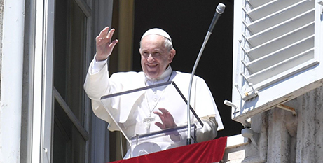Pope Francis delivers the Angelus address yesterday (Vatican Media)