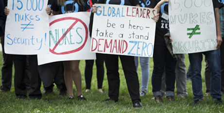 A 2016 demonstration in Washington DC against nuclear weapons (CNS/Tyler Orsburn)