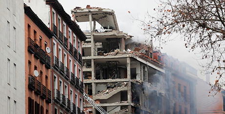 The destroyed Church building in central Madrid (Vatican News)