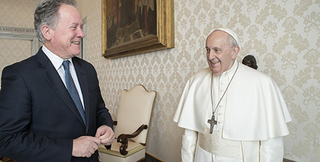 Pope Francis meets with David Beasley yesterday (CNS/Vatican Media)