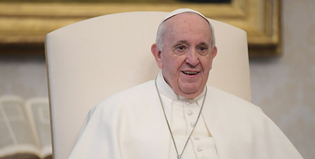 Pope Francis during his general audience in the library of the Apostolic Palace at the Vatican yesterday (Vatican Media)