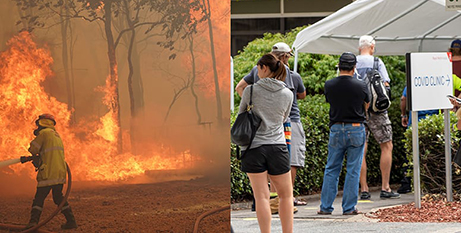 Perth has this week faced fires in the hills region and a COVID 19 lockdown (DFES/Evan Collins and Perth Archdiocese/Matthew Lau)