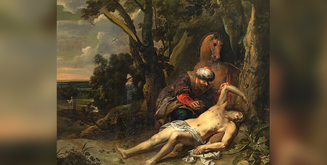 The Good Samaritan by Balthasar van Cortbemde (1612-1663), oil on canvas, 1647 (Wikipedia)