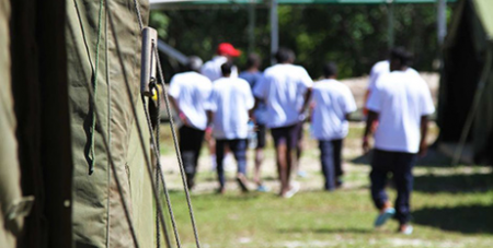 Asylum-seekers at the detention centre at Nauru (ABC News/Department of Immigration)