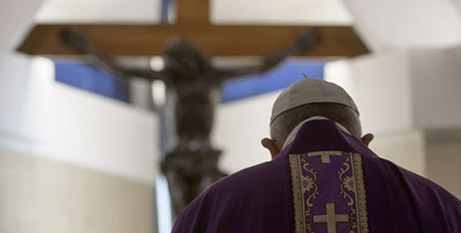 Pope Francis celebrates Mass in the chapel of the Casa Santa Marta during Lent last year (Vatican Media)