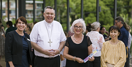 Jacqui Francis, Bishop Tim Harris, Jan Grajczonek and Lee Ann Barton at the book launch (Townsville Catholic Education)