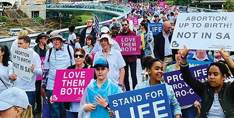 A pro-life rally in the lead up to the South Australian parliamentary debate on the bill (The Southern Cross)