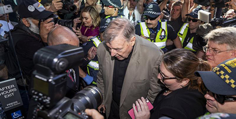 Cardinal George Pell arrives at the County Court in Melbourne on February 27, 2019 (CNS/Daniel Pockett, AAP images via Reuters)