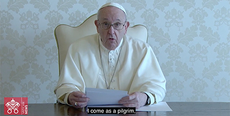 Pope Francis in his video message to the people of Iraq (Vatican Media)