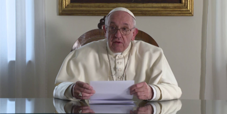 A screenshot of the video message to Catholic leaders taking part in a safeguarding course in Mexico (Vatican News)
