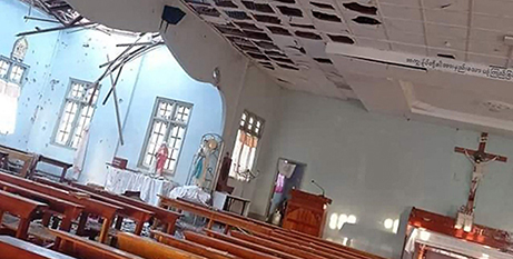 The Sacred Heart Church in Kayanthayar, Myanmar, was attacked by the military (Vatican News)