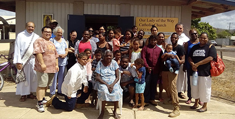 Deacon Ralph Madigan and Fr Robert Greenup and the Coen parish community (The Catholic Leader)