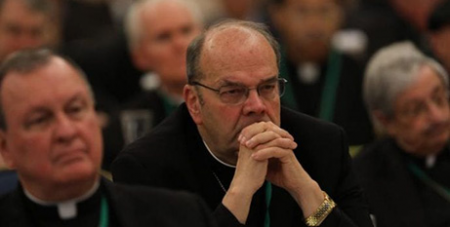 Bishops listen to speakers on the first day of the US Conference of Catholic Bishops in Baltimore yesterday (CNS/Bob Roller)