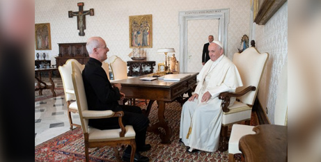 Pope Francis had a private audience with with Fr James Martin SJ at the Vaticanin 2019 (CNS)