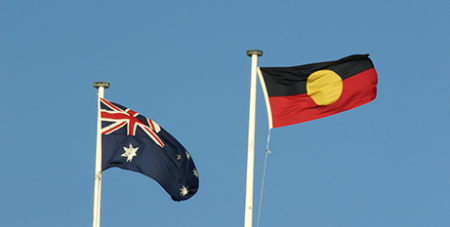 The Australian and Aboriginal flags
