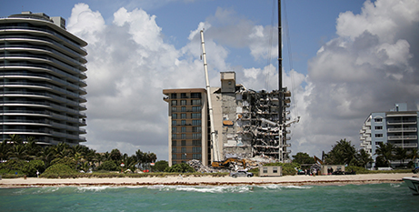 The partially collapsed building in Surfside, Florida (CNS/Marco Bello, Reuters)
