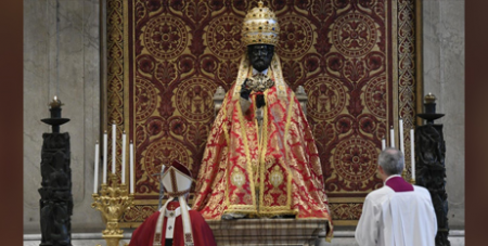 Pope Francis prays before the vested statue of St Peter at St Peter's Basilica yesterday (Vatican Media)
