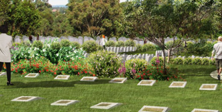 An artist's impression of Macarthur Memorial Park, a 136,000 plot multifaith cemetery planned for Sydney's west (CMCT)