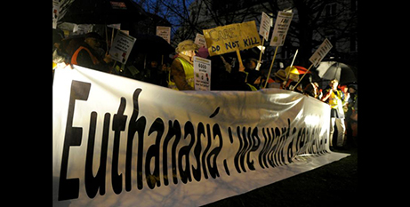 Protesters  demonstrate against euthanasia in Brussels, Belgium, in 2014 (CNS/Laurent Dubrule, Reuters)