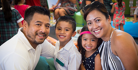 A family at St Anthony of Padua Catholic College in Austral, New South Wales (NCEC)