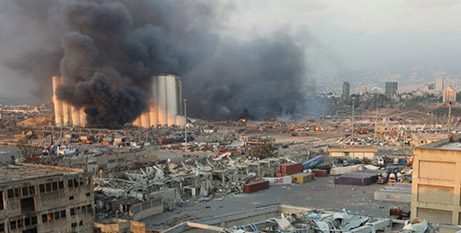 Smoke rises from the explosion site in Beirut on August 4, 2020 (CNS/Mohamed Azakir, Reuters)