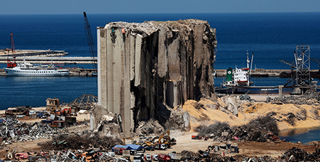 Debris surrounds a destroyed silo in Beirut's port area on August 17, in the aftermath of the August 4 blast (CNS/Alkis Konstantinidis, Reuters)