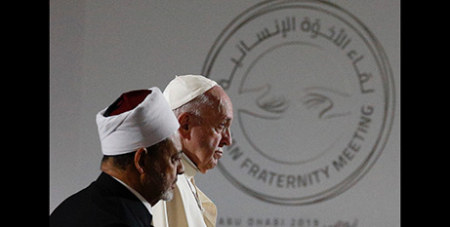 Pope Francis and Sheik Ahmad el-Tayeb in Abu Dhabi, United Arab Emirates, where they signed  the Document for Human Fraternity for World Peace and Living Together in February 2019  (CNS/Paul Haring)
