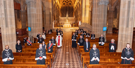 Knights and Dames of the Order of Malta with Archbishop Anthony Fisher OP at St Mary's Cathedral on September 3 (Order of Malta)