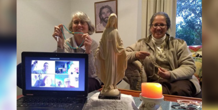 MGL Sisters and friends from Australia and overseas pray the Rosary via a video call (Catholic Voice)