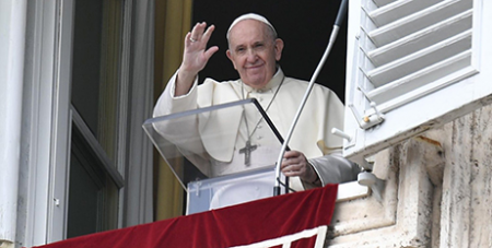 Pope Francis greets the faithful at the Angelus address yesterday (Vatican Media)