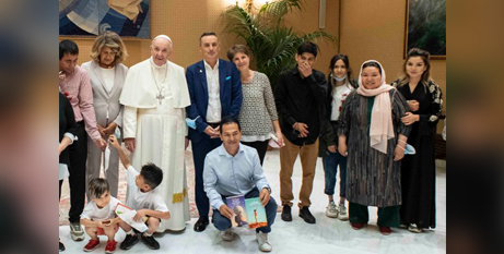 Pope Francis meets with a group of Afghan refugees at the Vatican yesterday (CNA/Vatican Media)