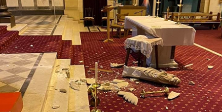 The earthquake caused statues to fall at St Mary's, Ascot Vale (Melbourne Catholic)