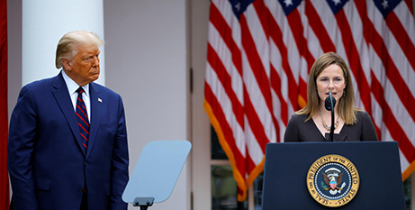 Donald Trump and Amy Coney Barrett at the announcement of her nomination for the US Supreme Court at the White House on Saturday (CNS/Carlos Barria, Reuters)