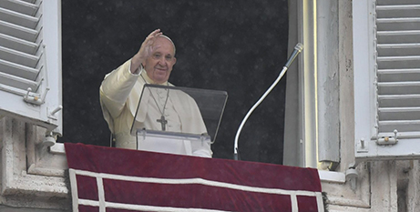 Pope Francis waves from the window of the Apostolic Palace during the Angelus address yesterday (Vatican Media)