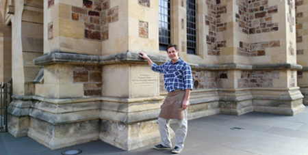 Christian Frenzel outside St Francis Xavier Cathedral in Adelaide (The Southern Cross)