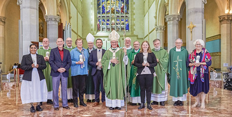 Archbishop Timothy Costelloe SDB with Perth's Plenary Council delegates (The Record/Ron Tan)