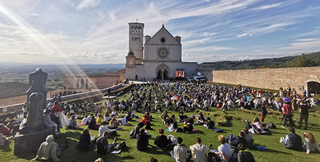 Because of Covid-19 restrictions most of the people attending the beatification Mass of Carlo Acutis in Assisi yesterday had to sit outside . (CNS photo/Junno Arocho Esteves)