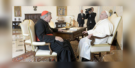 Cardinal George Pell and Pope Francis at the Vatican yesterday (Vatican Media)
