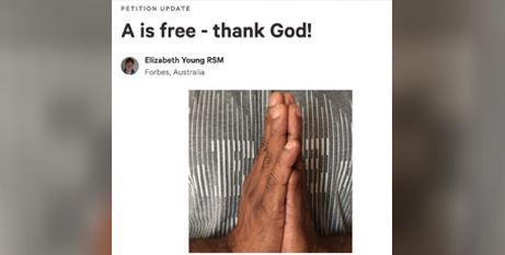 Sr Elizabeth Young RSM, who started the petition, shares news of A's release (Change.org)