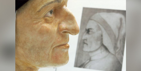 A bust and etching of Italian poet Dante Alighieri at the University of Bologna in Ravenna, Italy (CNS/Marco Bucco, Reuters via CNS)
