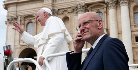 Domenico Giani at work with Pope Francis in May (CNS/Paul Haring)
