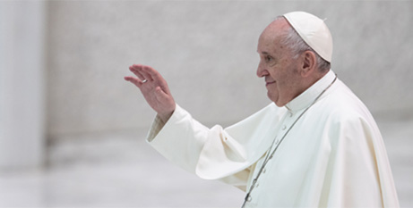 Pope Francis at his general audience at the Vatican yesterday (CNA/Daniel Ibanez)